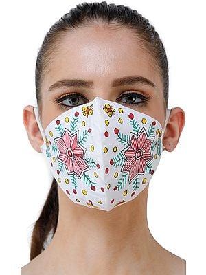 Two Ply Cotton Fashion Mask with Hand-Painted Madhubani Motifs (Big Flowers)