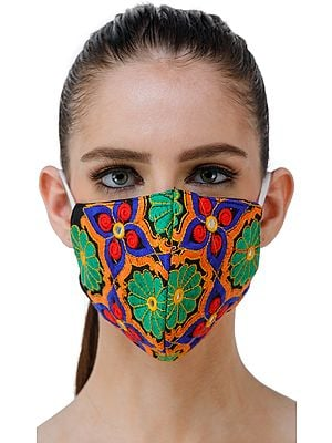 Multi-Colored Two Ply Fashion Mask from Jaipur with Ari-Embroidered Flowers and Mirrors