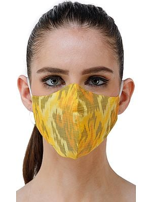 Yellow Handloom Pure Silk Two Ply Fashion Mask with Ikat Weave from Pochampally