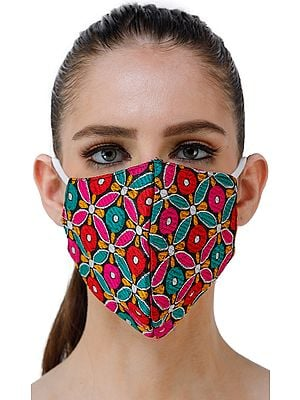 Multi-Color Floral Art Silk Two Ply Fashion Mask from Jaipur