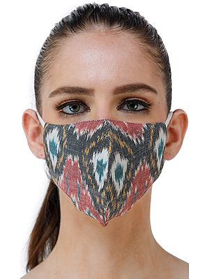 Ash-Rose Hand Woven Two Ply Fashion Mask with Ikat Weave from Pochampally