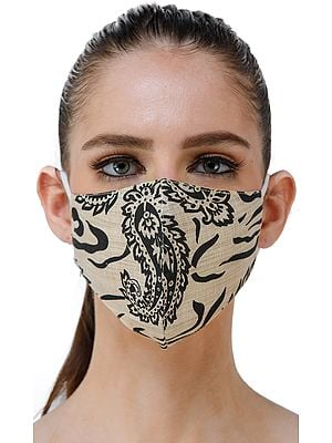 Cream Two Ply Fashion Mask from Jharkhand with Block-Printed Paisleys