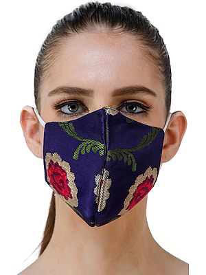 Dazzling-Blue Brocade Two Ply Fashion Mask from Banaras with Hand Woven Roses and Zari Weave