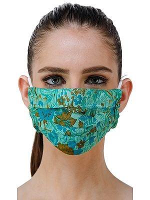 Green-Ash Floral Printed Two Ply Fashion Mask from Gandhi Ashram