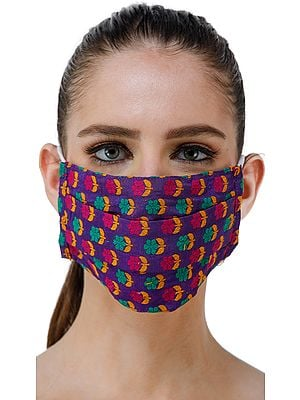 Dazzling-Blue Katan Fabric Two Ply Fashion Mask from Banaras with Woven Flowers