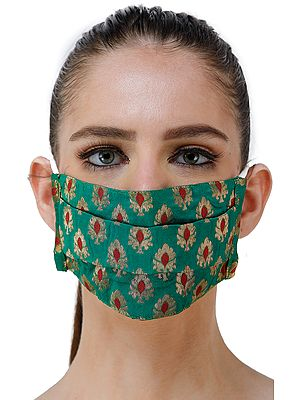 Kelly-Green Two Ply Fashion Mask from Banaras with All-Over Woven Bootis and Cotton Backing
