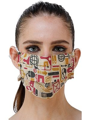 Alabaster-Gleam Two Ply Fashion Mask from Jharkhand with Modern Print