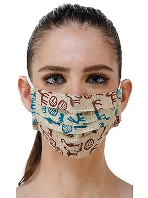 Beige Two Ply Fashion Mask from Jharkhand with Block Printed Wild-Life Figures