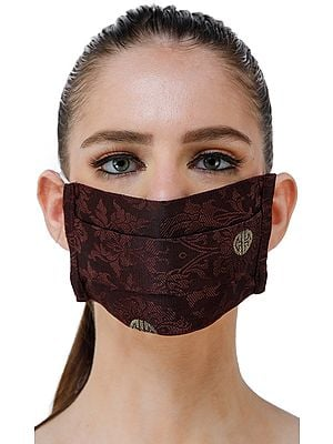 Chocolate-Truffle Two Ply Fashion Mask from Banaras with Self Weave and Chinese Good Luck Symbols