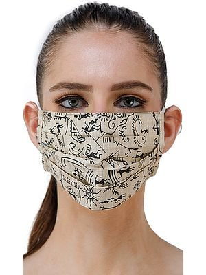 Almond-Oil Two Ply Fashion Mask from Jharkhand with Printed Warli Folk Motifs
