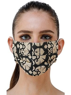 Black and Beige Two Ply Fashion Mask from Jharkhand with Floral Printed Motifs