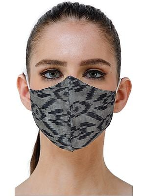 Gray and Black Handloom  Silk Two Ply Fashion Mask with Ikat Weave from Pochampally