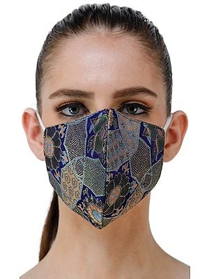 Kaleidoscope Pure Silk Handloom Brocade Two Ply Fashion Mask from Banaras