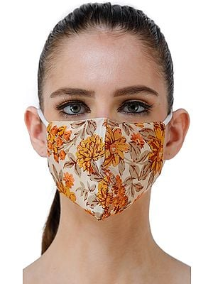 Cream and Amber Floral Printed Two Ply Fashion Mask from Gandhi Ashram