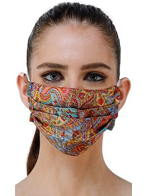 Multicolored Abstract Printed Two Ply Fashion Mask with Cotton Backing