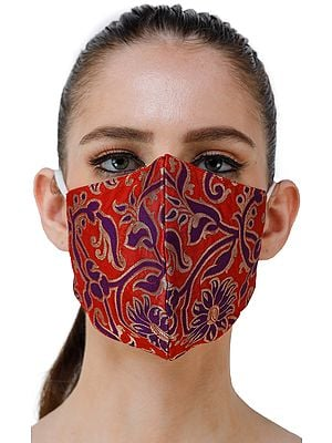Flame Scarlet Katan Fabric Two Ply Fashion Mask from Banaras with Woven Flowers in Blue and Gold