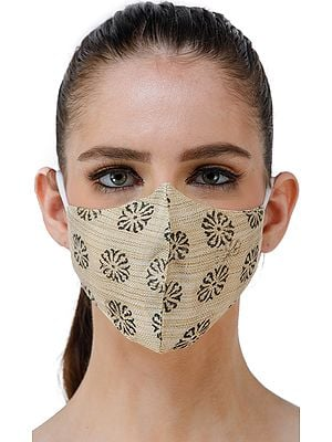 Dusty-Yellow Two Ply Fashion Mask from Jharkhand with Block Printed Small Flowers