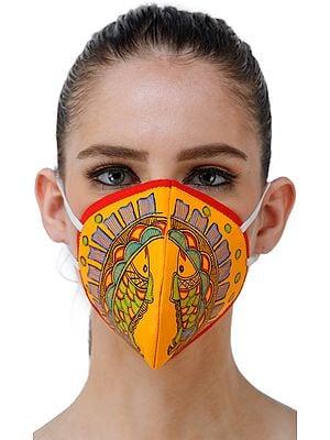 Three Ply Cotton Fashion Mask with Hand-Painted Madhubani Motifs (Ornated-Fish)