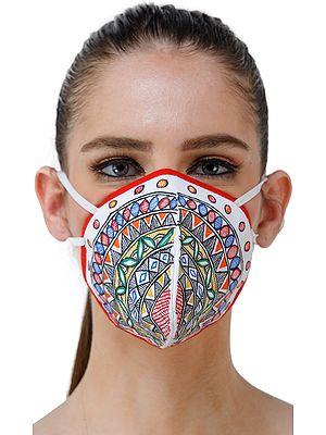 Three Ply Cotton Fashion Mask with Hand-Painted Madhubani Motifs (Mandala)