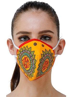 Three Ply Cotton Fashion Mask with Hand-Painted Madhubani Motifs (Flower-Mandala)