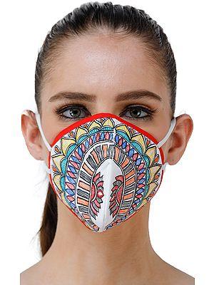 Three Ply Cotton Fashion Mask with Hand-Painted Madhubani Motifs (Lotus-Mandala)