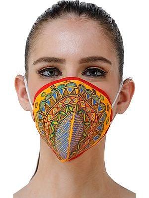 Three Ply Cotton Fashion Mask with Hand-Painted Madhubani Motifs (Tribal-Mandala)