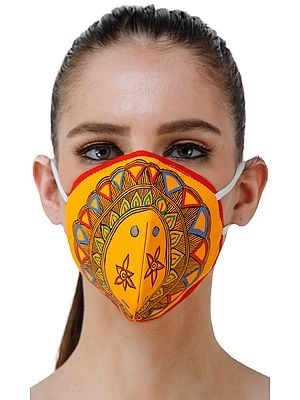 Three Ply Cotton Fashion Mask with Hand-Painted Madhubani Motifs (Little-Flowers)