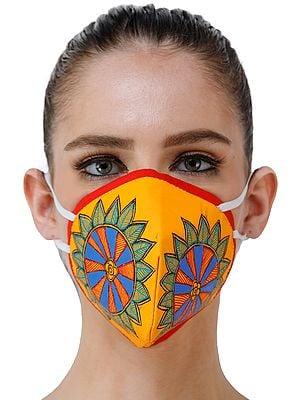 Three Ply Cotton Fashion Mask with Hand-Painted Madhubani Motifs (Floral-Wheel)