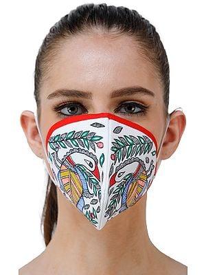 Three Ply Cotton Fashion Mask with Hand-Painted Madhubani Motifs (Bird)
