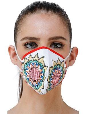 Three Ply Cotton Fashion Mask with Hand-Painted Madhubani Motifs (Big-Flowers)