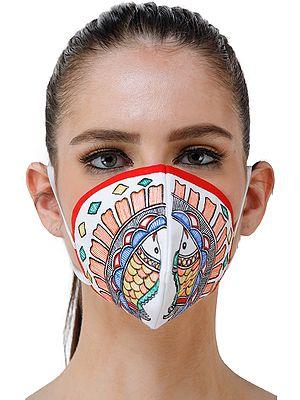 Three Ply Cotton Fashion Mask with Hand-Painted Madhubani Motifs (Fish)