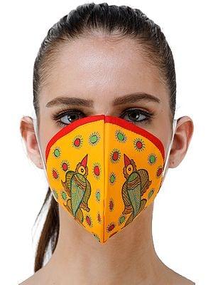 Three Ply Cotton Fashion Mask with Hand-Painted Madhubani Motifs (Flying-Bird)