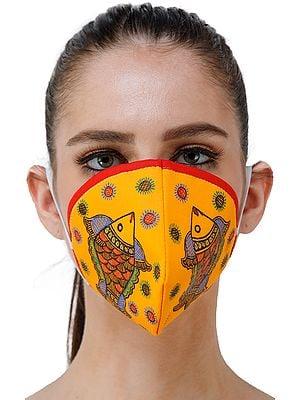Three Ply Cotton Fashion Mask with Hand-Painted Madhubani Motifs (Big-Fishes)