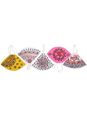 Lot of Five, Two Ply Cotton Fashion Mask with Hand-Painted Madhubani Motifs (Multi-color)