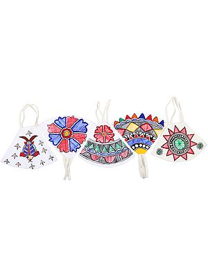 Lot of Five, Two Ply Cotton Fashion Mask with Hand-Painted Madhubani Motifs (Flowers and Birds)