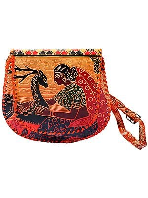 Original Leather Cross-body/Sling/Messenger Bag from Shantiniketan Kolkata, Hand-Carved and Hand-Painted with Non-Toxic Vegetable Dyes