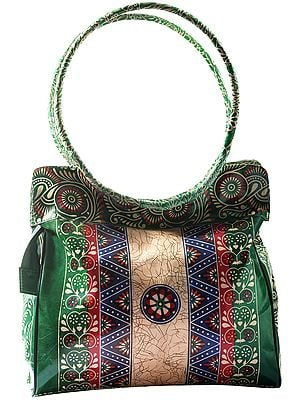 Verdant-Green Pure Leather Big Shoulder Bag from Shantiniketan Kolkata, Hand-Carved and Hand-Painted with Non-Toxic Vegetable Dyes
