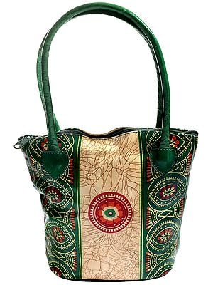 Pure Leather Batik Design Tote Hand-Bag from Shantiniketan Kolkata, Hand-Carved and Hand-Painted with Non-Toxic Vegetable Dyes