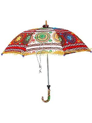 Multi-Color Parasol from Kutch with Mirrors and Threadwork
