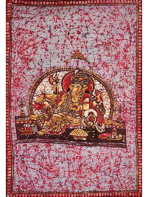 Lord Ganesha Floating In Rose-Tinted Heavens