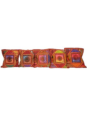 Lot of Five Cushion Covers from Kutch with All-Over Embroidery and Mirrors