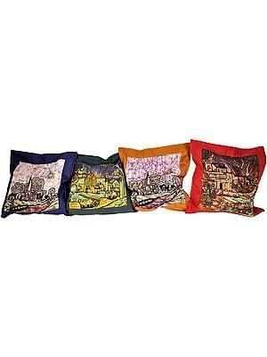 Lot of Four Large Batik Cushion Covers with Landscape Scenes