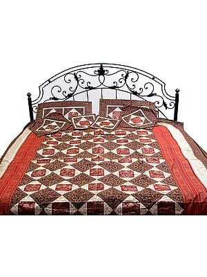 Maroon and Red Seven-Piece Banarasi Bedcover with Woven Flower Pot
