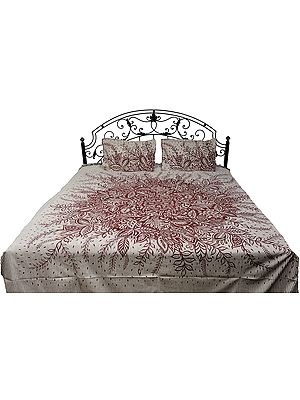 Antique-White Bedspread from Pilkhuwa with Printed Leaves