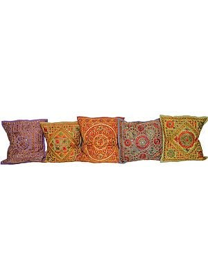 Lot of Five Floral Embroiderd Cushion Covers from Kutch with Mirrors