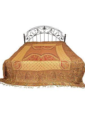 Reversible Jamawar Bedspread with Mughal Design