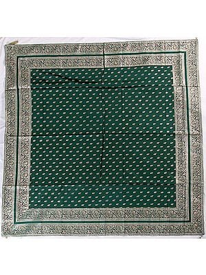 Green Meenakari Table Cover from Banaras with Woven Elephants