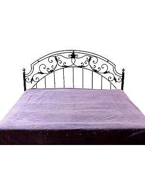 Lavender-Violet Stonewash Bedspread with Embroidery and Sequins