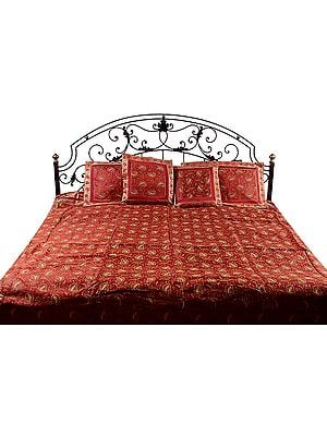 Red Brocaded Banarasi Bedcover with All-Over Embroidered Paisleys
