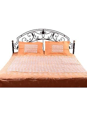Orange and Ivory Cutwork Bedspread with Lukhnavi Chikan Embroidery